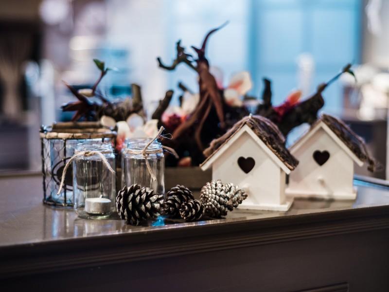 Dennenappels op een tafel. Daarachter 2 wit houten vogelhuisjes. Foto Tovergoud