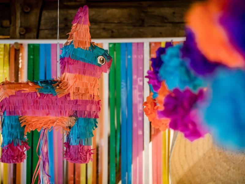 Ezel Piñata hangend aan het plafond. Foto Eppel Fotografie