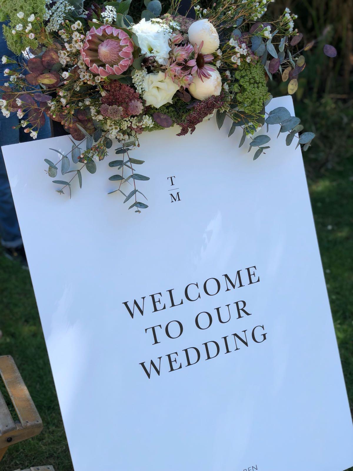 Bruiloft Maren en Tim welkomstbord
