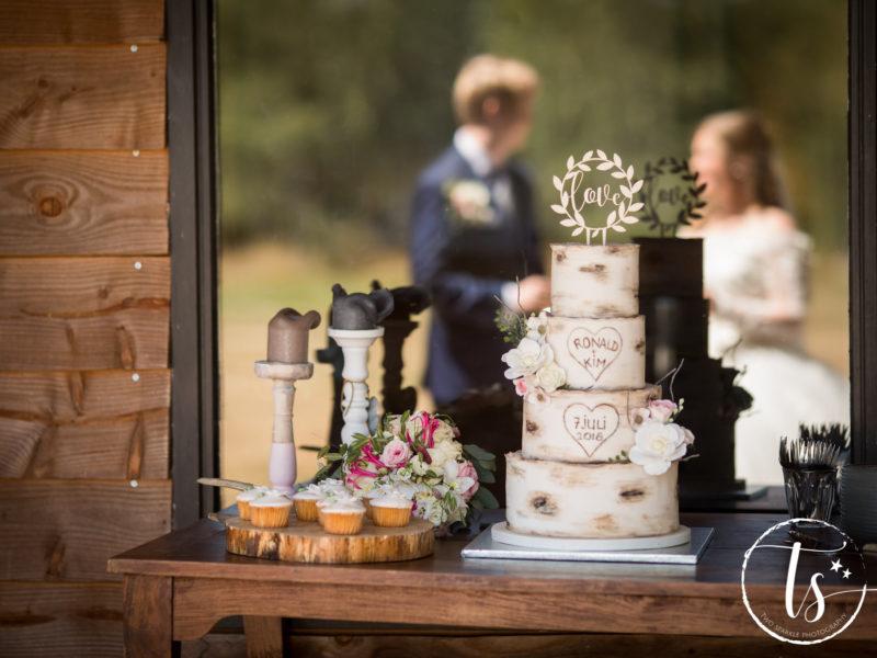 Bruidstaart in berkenboomvorm met bruidspaar op achtergrond, Bruiloft Kim en Ronald, foto Two Sparkle Photography